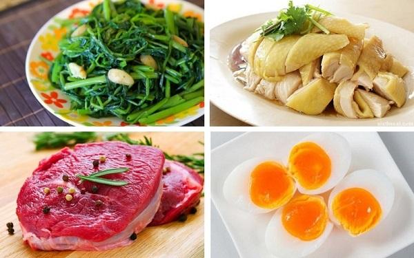 Nên tránh ăn thịt gà, các loại thịt màu đỏ sẫm như bò, bê, chó