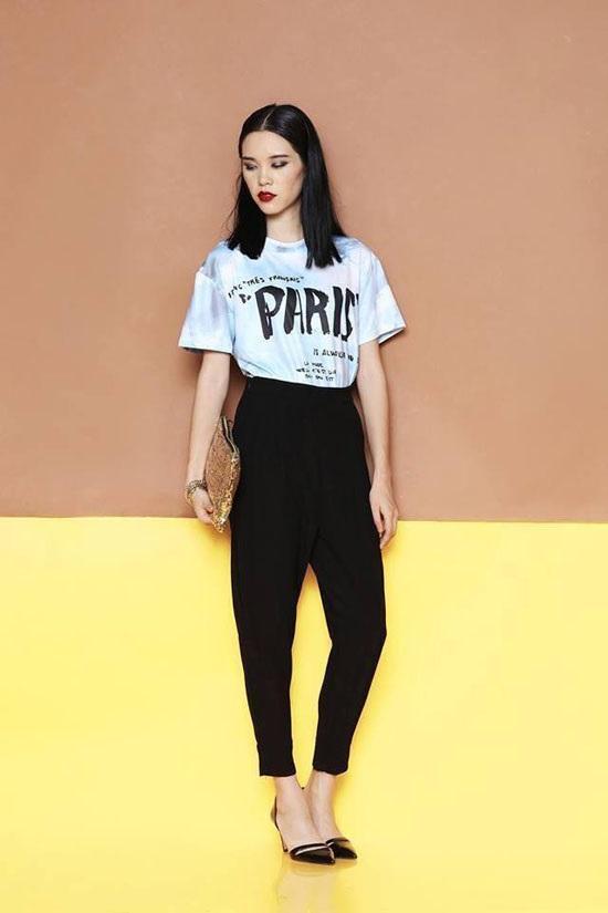 Quần Baggy và áo phông là lựa chọn hoàn hảo cho nàng chân ngắn