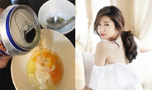 tắm trắng tại nhà bằng bia và trứng gà