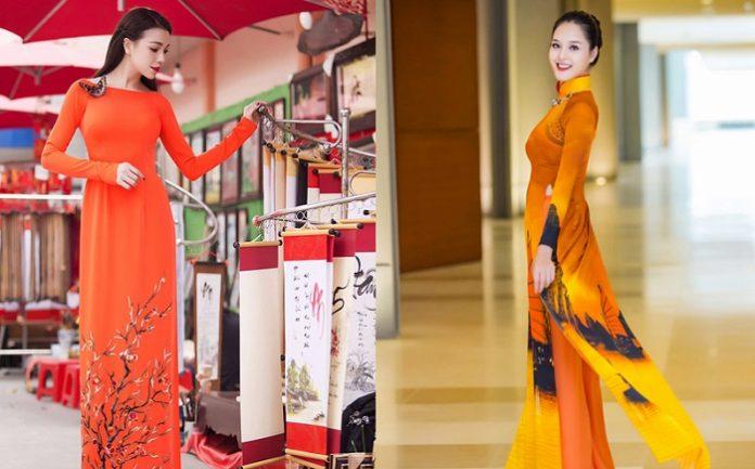 5 Cách kết hợp áo dài màu cam với quần đẹp giúp