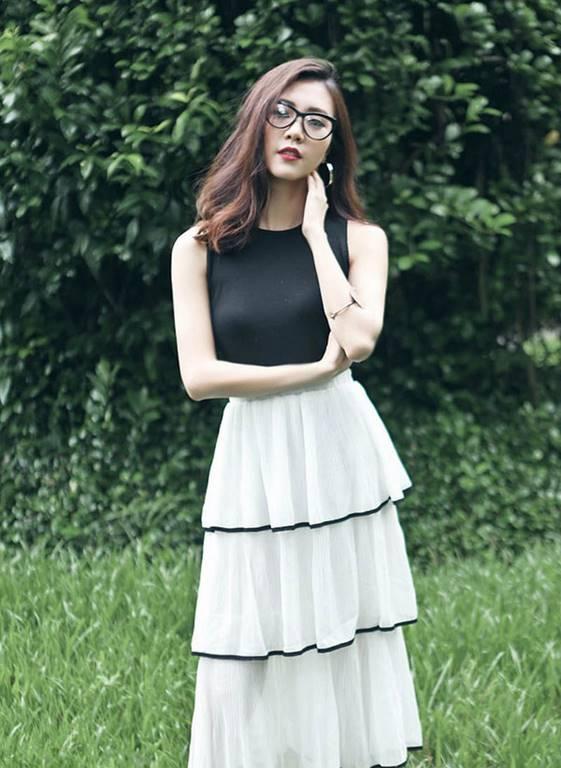 Mẫu váy nhiều tầng cho nàng gầy