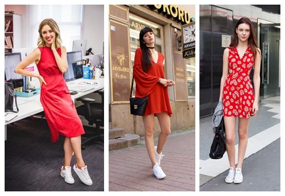 Váy đỏ mix với giày trắng