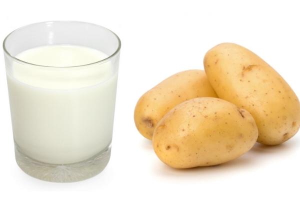 Mặt nạ khoai tây và sữa tươi không đường