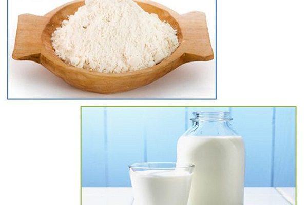 Mặt nạ cám gạo và sữa tươi không đường