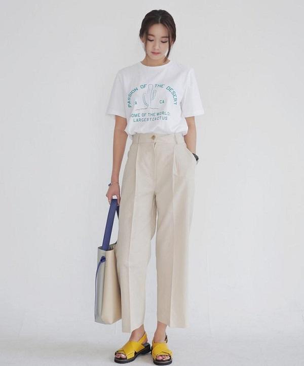 Quần culottes với áo cùng màu sắc