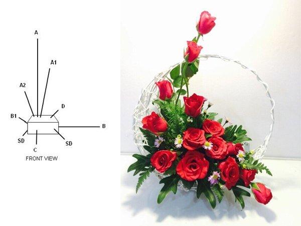Kiểu cắm hoa hình chữ L