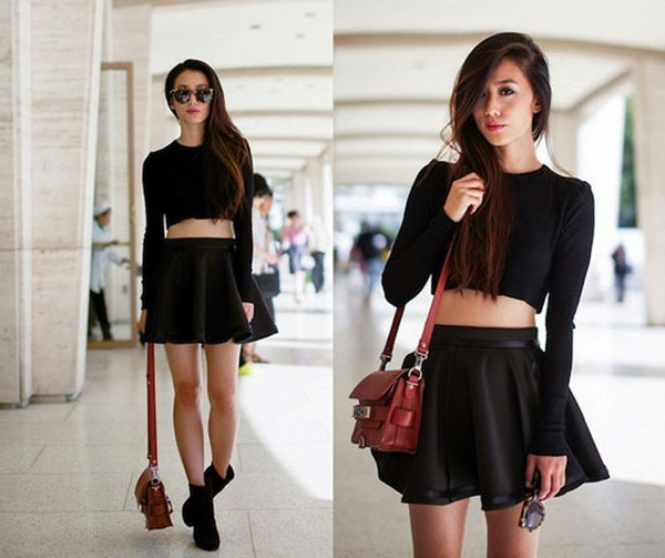 Chân váy xòe đen, áo crop-top