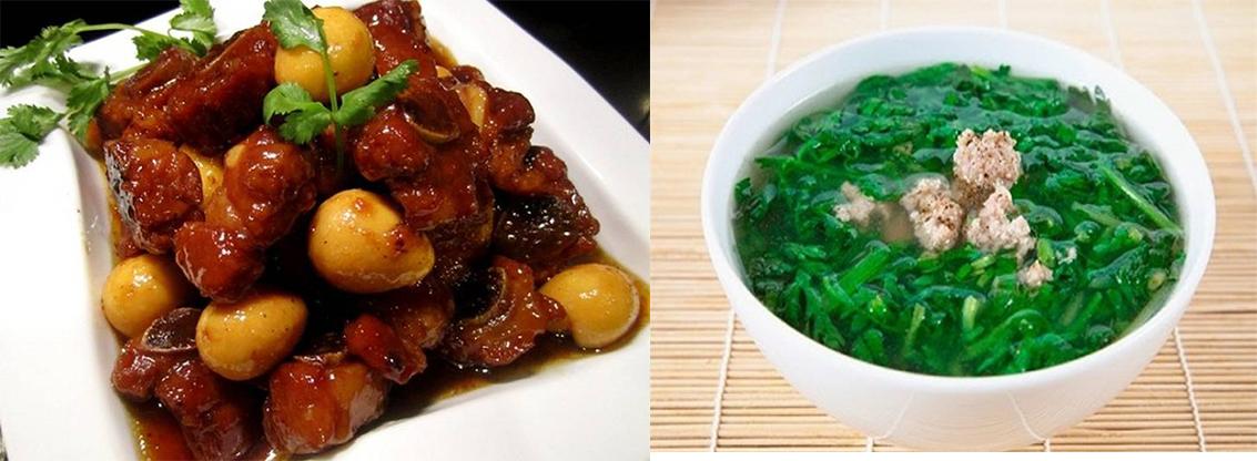 Thực đơn: Thịt kho tàu, canh rau cải