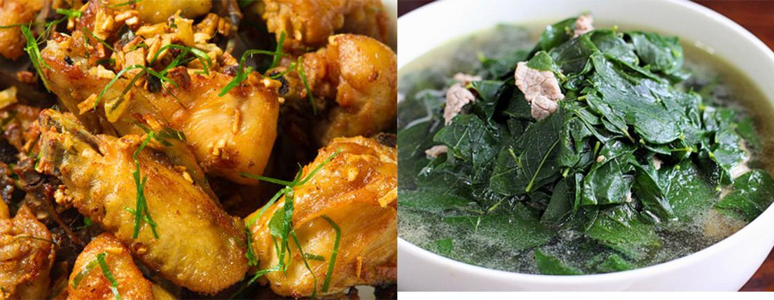 Thực đơn: Thịt gà rang, canh rau ngót
