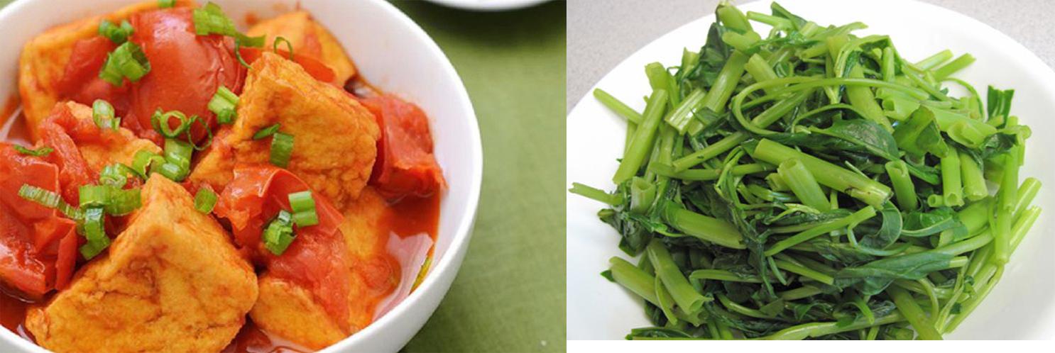 Thực đơn: Đậu sốt cà chua, rau muống luộc