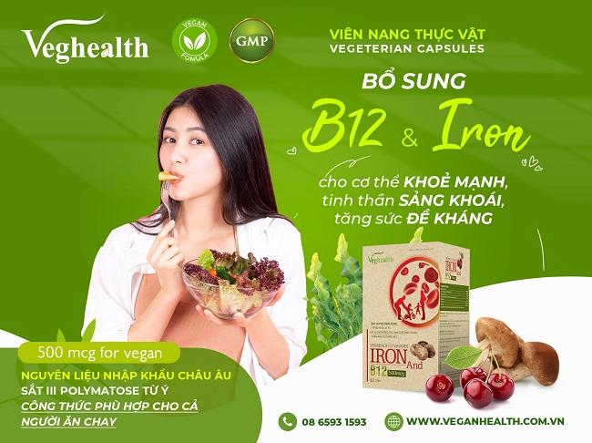 Bổ sung sắt và Vitamin B12 từ viên uống Organic Veghealth Oveggies Iron And B12